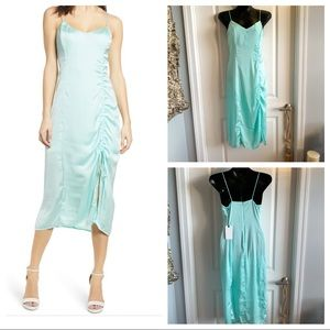 Leith Satin Ruched Slip Dress Size M